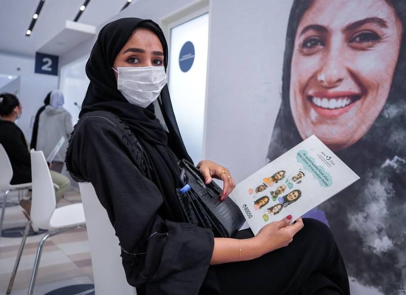 Abu Dhabi, United Arab Emirates, January 12, 2021. SEHA Vaccination Centre at the Abu Dhabi Cruise Terminal area. --  Shaikha Al Dheiri waiting to get vaccinated.Victor Besa/The NationalSection:  NAReporter:  Shireena Al Nowais