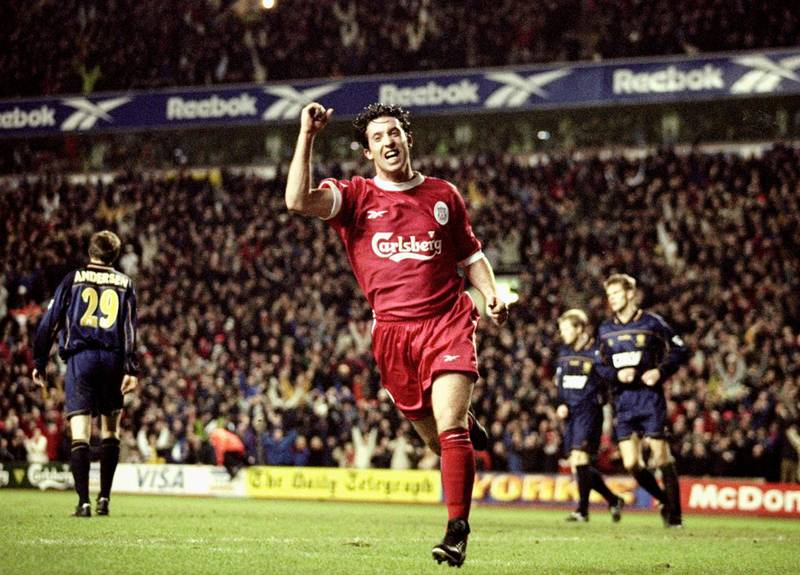 28 Dec 1999:  Robbie Fowler of Liverpool scores on his comeback from injury during the FA Carling Premiership match against Wimbledon at Anfield in Liverpool, England. Liverpool won 3-1. \ Mandatory Credit: Alex Livesey /Allsport / Getty Images
