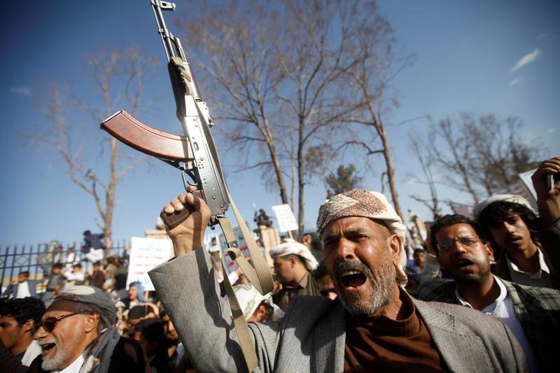 A man chants slogans as he and supporters of the Houthi movement attend a rally to celebrate following claims of military advances by the group near the borders with Saudi Arabia, in Sanaa, Yemen October 4, 2019. REUTERS/Mohamed al-Sayaghi