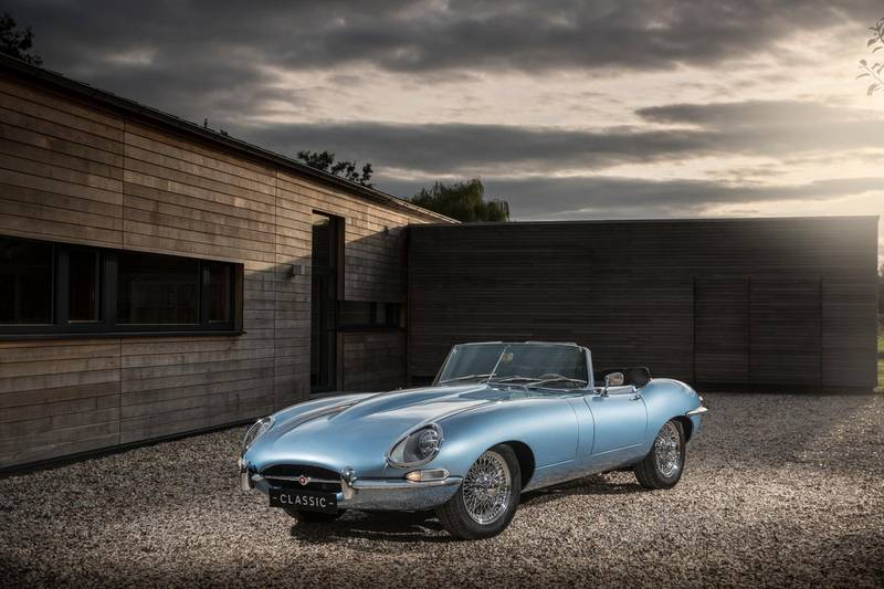 Jaguar E-type Zero, based on 1968 Series 1.5 Jaguar E-type Roadster, and features a cutting-edge electric powertrain enabling 0-62mph in just 5.5 seconds. Courtesy Jaguar Land Rover Classic