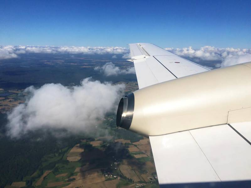 In an airplane over the north of Germany