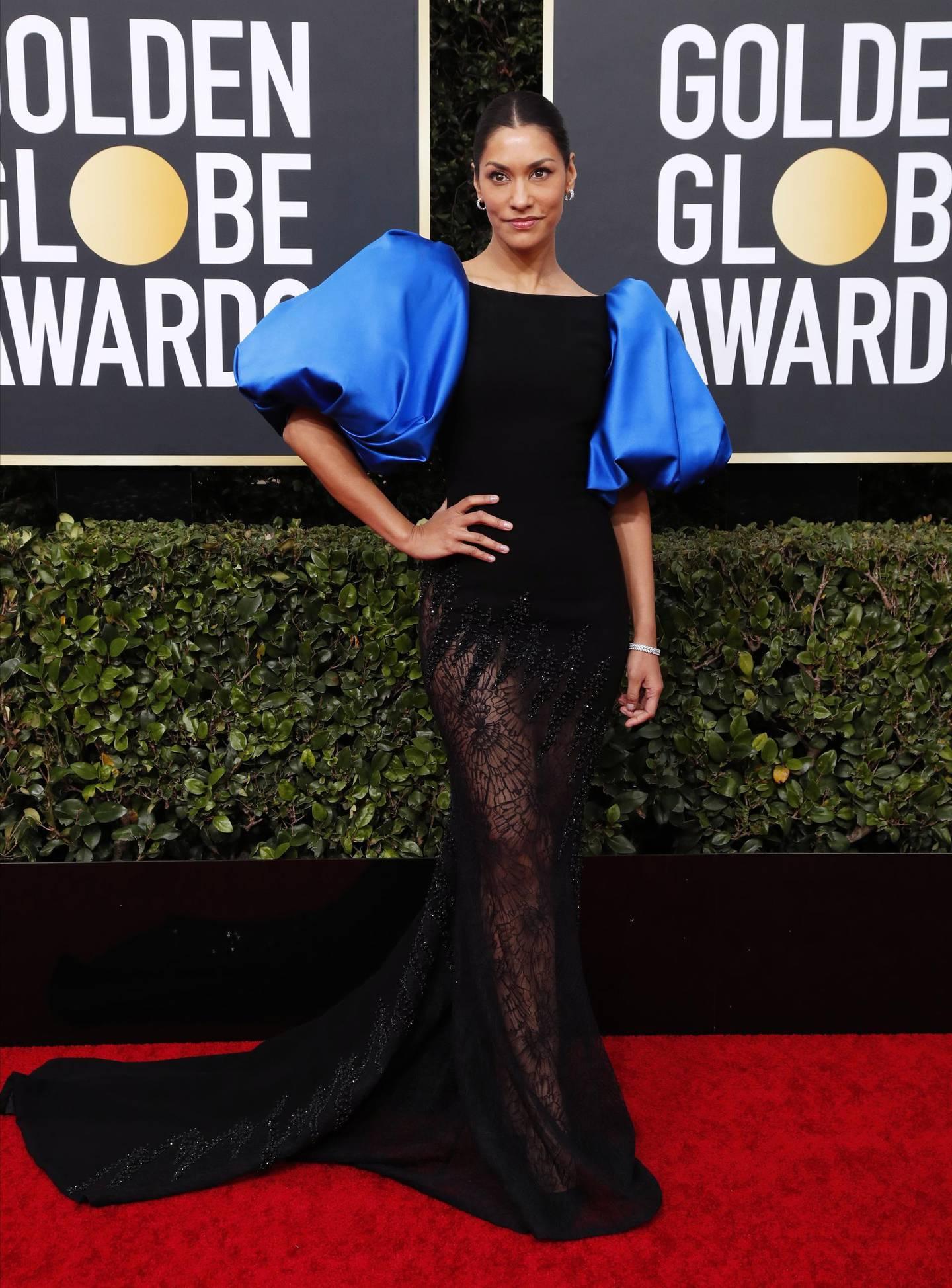 epa08105606 Janina Gavankar arrives for the 77th annual Golden Globe Awards ceremony at the Beverly Hilton Hotel, in Beverly Hills, California, USA, 05 January 2020.  EPA/NINA PROMMER