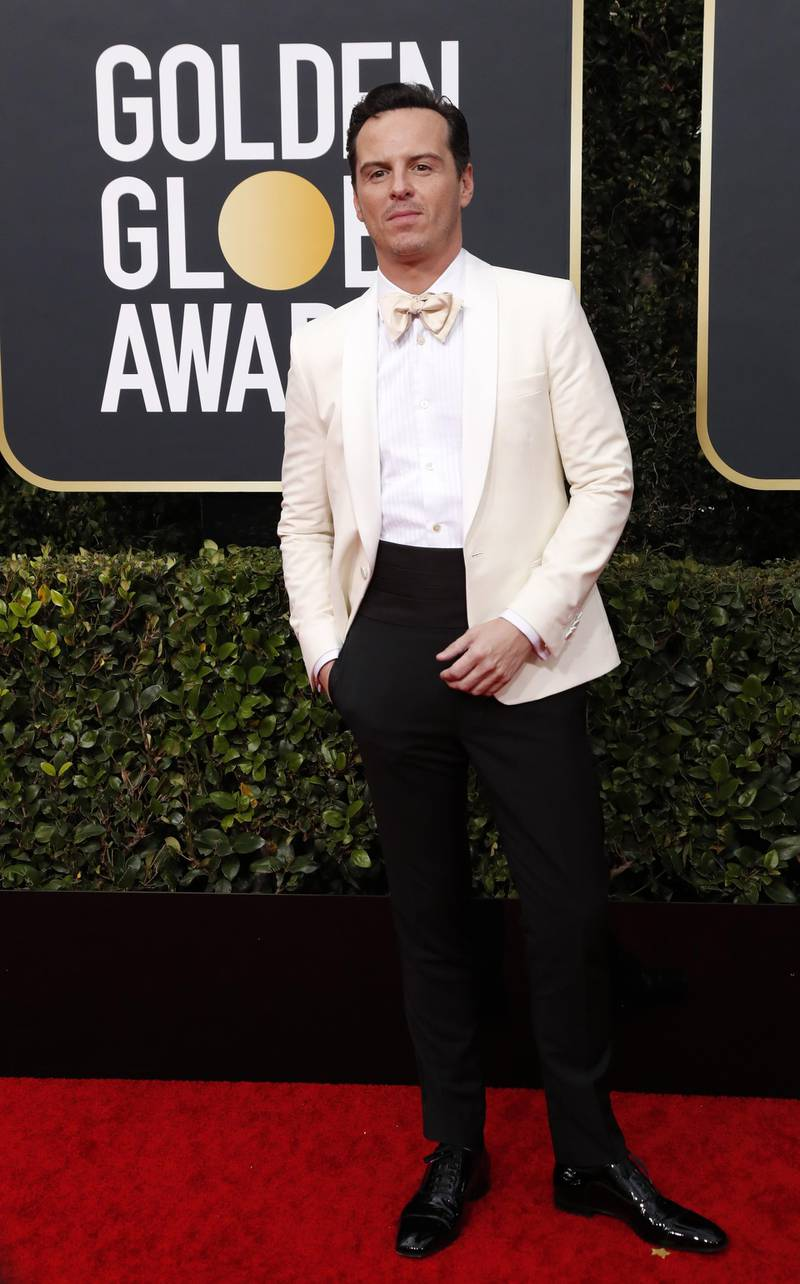 epa08105578 Andrew Scott arrives for the 77th annual Golden Globe Awards ceremony at the Beverly Hilton Hotel, in Beverly Hills, California, USA, 05 January 2020.  EPA-EFE/NINA PROMMER