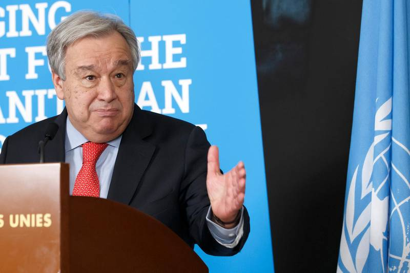 epa07398720 United Nations (UN) Secretary-General Antonio Guterres speaks to the media during a stakeout after the High-Level Pledging Event for the Humanitarian Crisis in Yemen, at the European headquarters of the United Nations in Geneva, Switzerland, 26 February 2019.  EPA/SALVATORE DI NOLFI