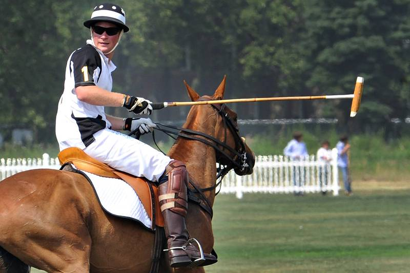 Prince Harry competes during the 3rd annual Veuve Clicquot Polo Classic on Governors Island in New York City.