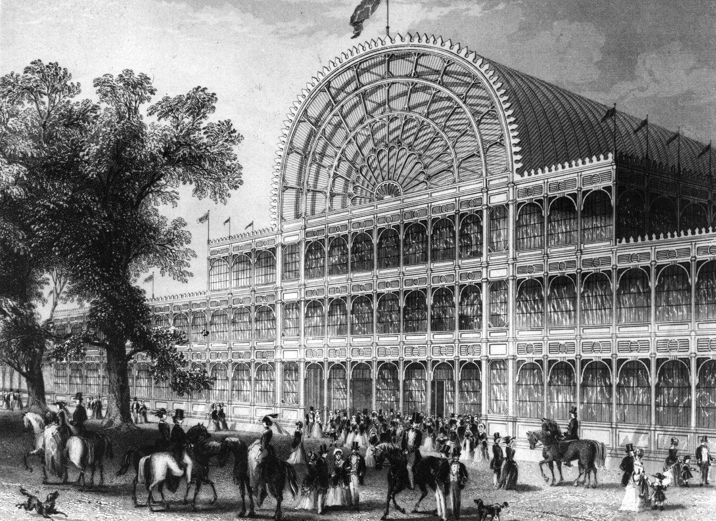 1851:  The facade of Crystal Palace, London, during the Great Exhibition 1851  (Photo by Hulton Archive/Getty Images)