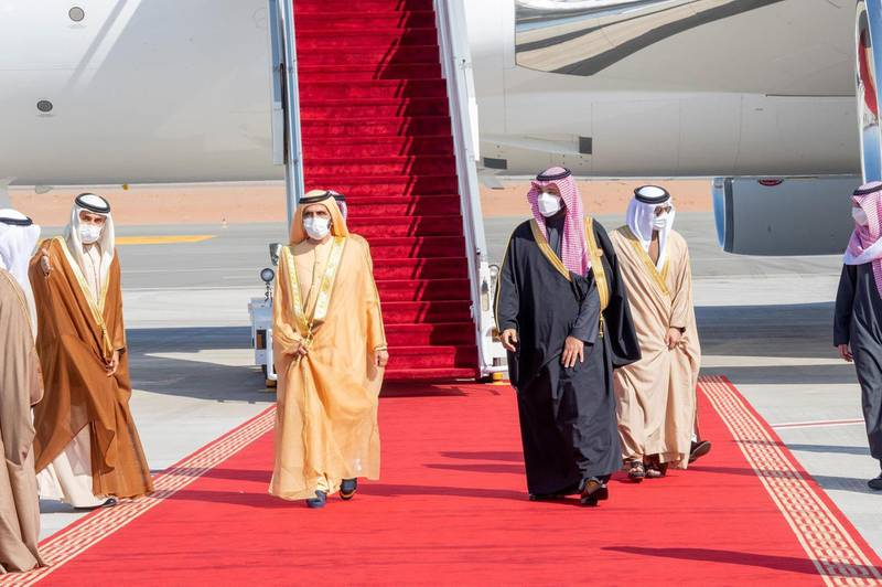 Crown Prince Mohammed bin Salman (R) welcoming Dubai's Ruler and UAE Vice President Sheikh Mohammed bin Rashid upon his arrival in the city of al-Ula in northwestern Saudi Arabia for the 41st Gulf Cooperation Council (GCC) summit.. SPA