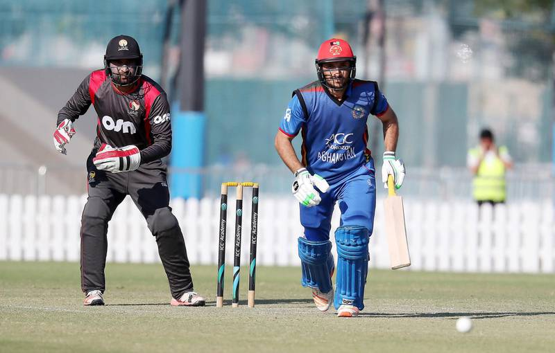 DUBAI , UNITED ARAB EMIRATES , JAN 18 – 2018 :- Rahmat Shah of Afghanistan cricket team playing a shot during the practice match between UAE vs Afghanistan held at ICC academy in Dubai Sports City in Dubai.  (Pawan Singh / The National) For Sports. Story by Paul Radley