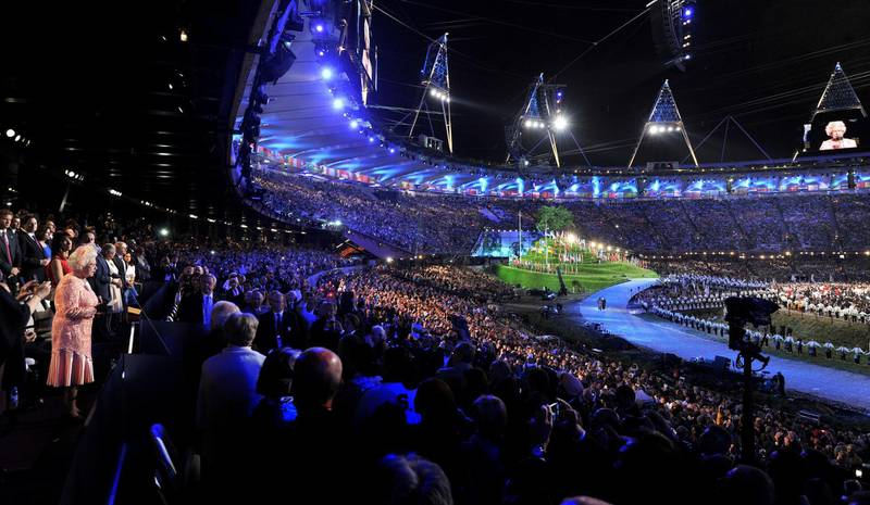 LONDON, ENGLAND - JULY 27:  Queen Elizabeth II makes a speech during the Opening Ceremony of the London 2012 Olympic Games at the Olympic Stadium on July 27, 2012 in London, England.  (Photo by John Stillwell  - WPA Pool /Getty Images)