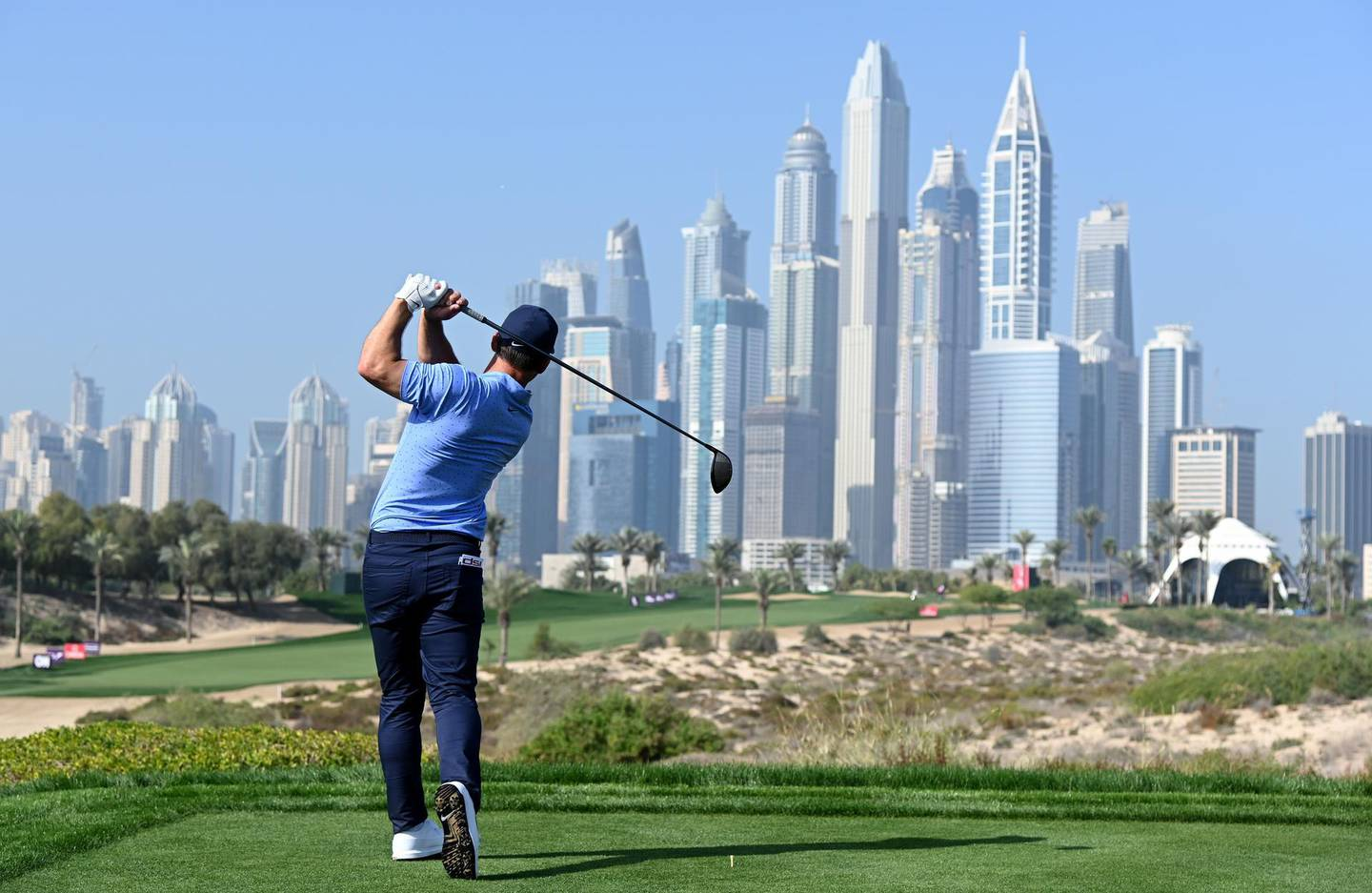 DUBAI, UNITED ARAB EMIRATES - JANUARY 27: Paul Casey of England in action during the pro-am event prior to the Omega Dubai Desert Classic at Emirates Golf Club on January 27, 2021 in Dubai, United Arab Emirates. (Photo by Ross Kinnaird/Getty Images)