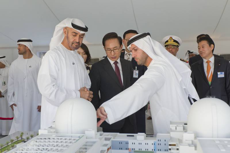 BARAKAH - ABU DHABI,  UNITED ARAB EMIRATES - November 21, 2012: (from L)  HH General Sheikh Mohamed bin Zayed Al Nahyan Crown Prince of Abu Dhabi Deputy Supreme Commander of the UAE Armed Forces, HE Lee Myung-Bak President of the Republic of Korea ( South Korea ) and Mohamed Al Hammadi, CEO, Emirates Nuclear Energy Corporation, visit Barakah, the site of the UAE Peaceful Nuclear Energy Program.  ( Philip Cheung / Crown Prince Court - Abu Dhabi ).