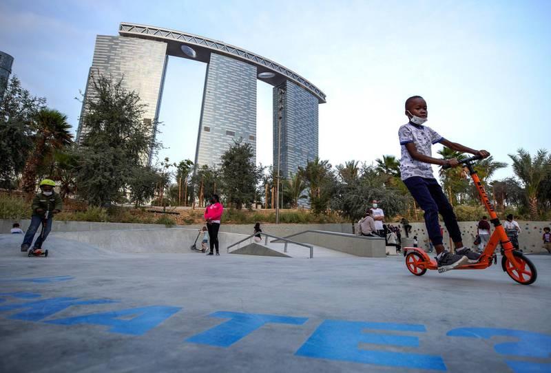 Abu Dhabi, United Arab Emirates, January 21, 2021.  The skate area in Al Fay Park on Reem Island.Victor Besa/The National Section:  LFReporter: Panna Munyal