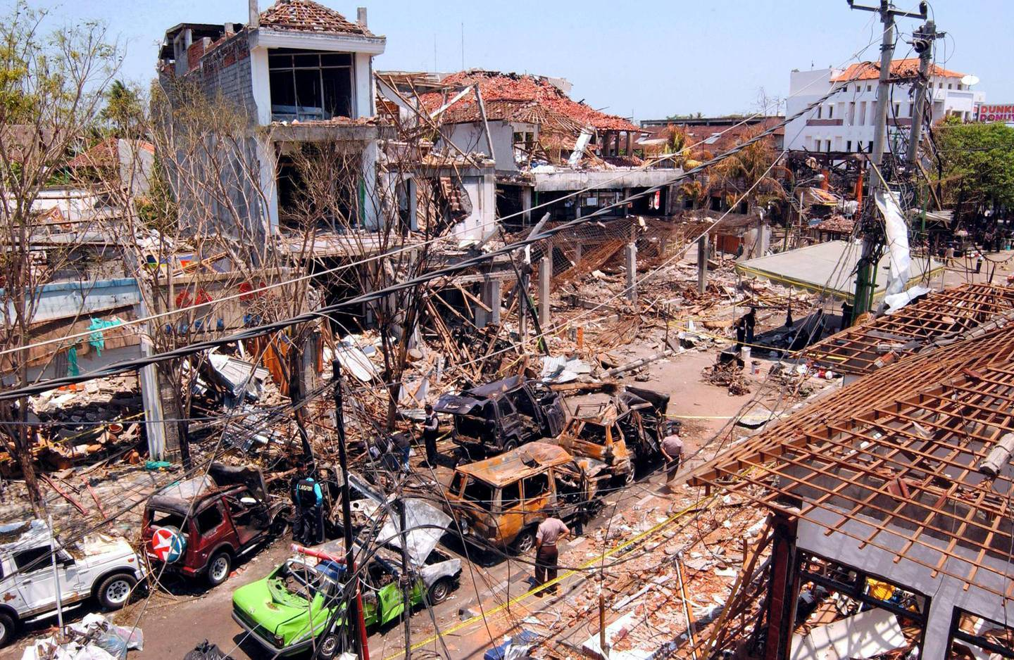 DENPASAR, BALI, INDONESIA - OCTOBER 16:  A view of the bomb blast site on October 16, 2002 in Denpasar, Bali, Indonesia. The blast occurred in the popular tourist area of Kuta on October 12, leaving more than 180 people dead and 132 injured, with the death toll expected to rise. (Photo by Edy Purnomo/Getty Images)