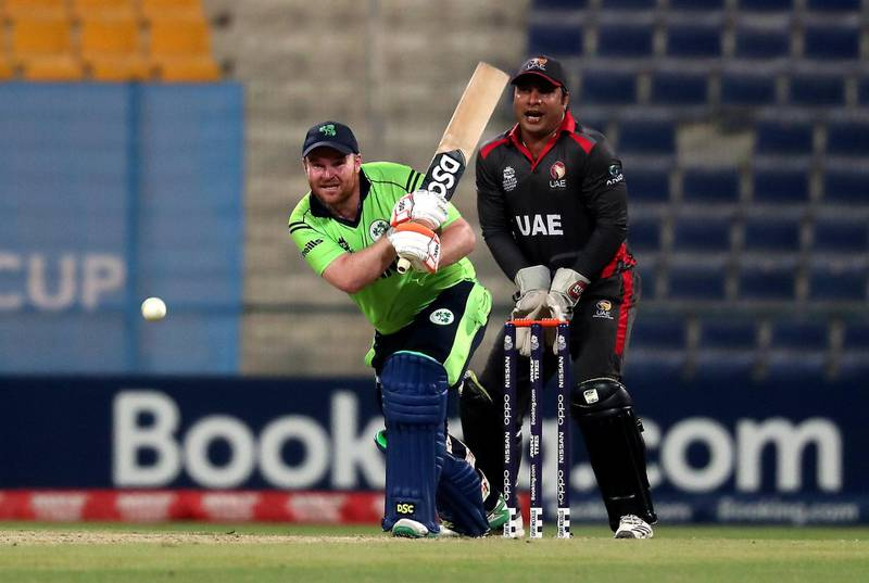 ABU DHABI , UNITED ARAB EMIRATES , October 19  – 2019 :- Paul Stirling of Ireland playing a shot during the World Cup T20 Qualifiers between UAE v Ireland held at Zayed Cricket Stadium in Abu Dhabi.  ( Pawan Singh / The National )  For Sports. Story by Amith