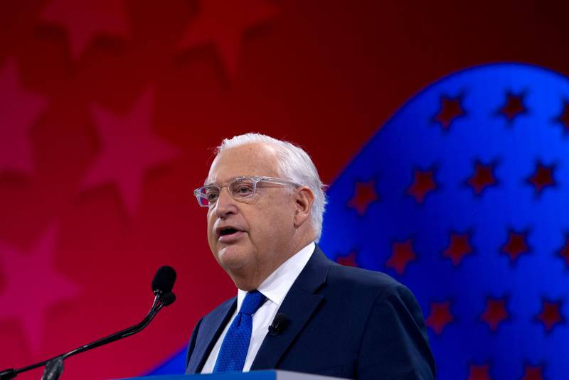 FILE - In this March 26, 2019 file photo, United States Ambassador to Israel David Friedman speaks at the 2019 American Israel Public Affairs Committee (AIPAC) policy conference, at Washington Convention Center, in Washington.  Friedman says Israel has the right to retain parts, but not all, of the West Bank.  His remarks in an interview The New York Times published Saturday, June 8, 2019,  comes about two months after Israeli Prime Minister Benjamin Netanyahu vowed to begin annexing parts of the West Bank.  (AP Photo/Jose Luis Magana, File)