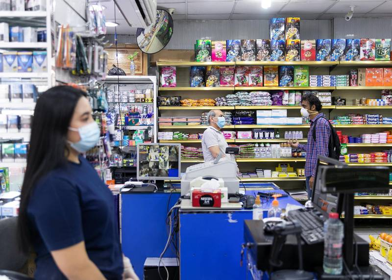 DUBAI, UNITED ARAB EMIRATES. 31 MARCH 2020. A supermarket in Bani Yas neighborhood.(Photo: Reem Mohammed/The National)Reporter: NICK WEBSTERSection: COVID NA
