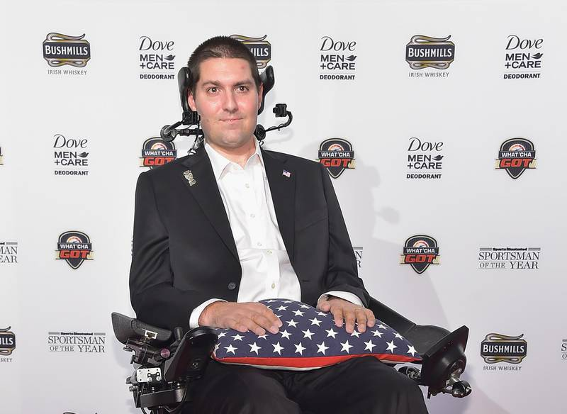 (FILES) In this file photo taken on December 08, 2014 Pete Frates attends the Sportsman Of The Year 2014 Ceremony on December 9, 2014 in New York City.    Pete Frates, the man who inspired the viral #IceBucketChallenge that raised millions of dollars for ALS research, has died at age 34, his family says in a statement released by Boston Collegeon December 09, 2019. / AFP / GETTY IMAGES NORTH AMERICA / Michael loccisano