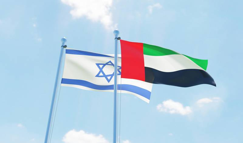 UAE and Israel, two flags waving against blue sky. 3d image