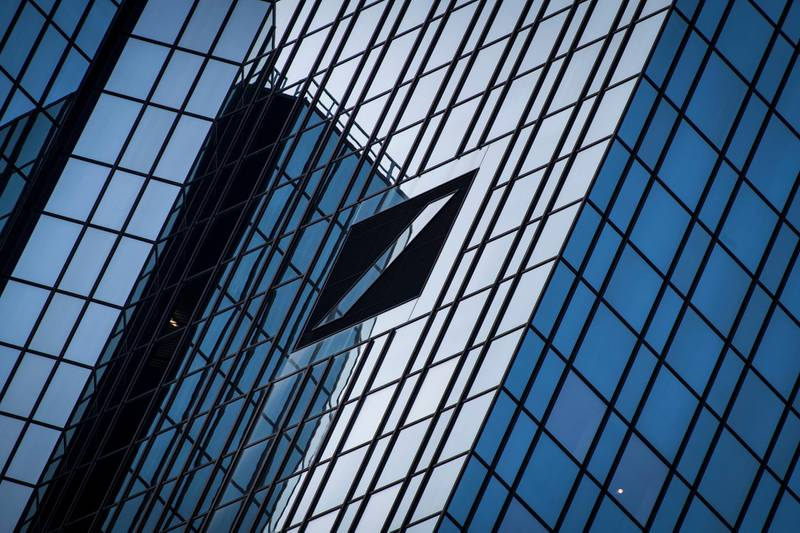 FRANKFURT AM MAIN, GERMANY - SEPTEMBER 22: The headquarters of Deutsche Bank pictured on September 22, 2020 in Frankfurt, Germany. According to recent media reports Deutsche Bank has been linked to large-scale, criminal money laundering through the so-called FinCEN files. The files, which are reports of suspicious activity filed by banks with a U.S. regulator, show Deutsche Bank executives, including current CEO Christian Sewing and Chairman Paul Achleitner, were informed of vulnerabilities at Deutsche over the laundering of billions of dollars through its Moscow office on behalf of criminal enterprises. Deutsche Bank had previously blamed the scandal on mid-level management in the Moscow office. The leaked FinCEN files point to money laundering by several global banks, including Deutsche Bank, HSBC, JP Morgan and Barclays. (Photo by Thomas Lohnes/Getty Images)