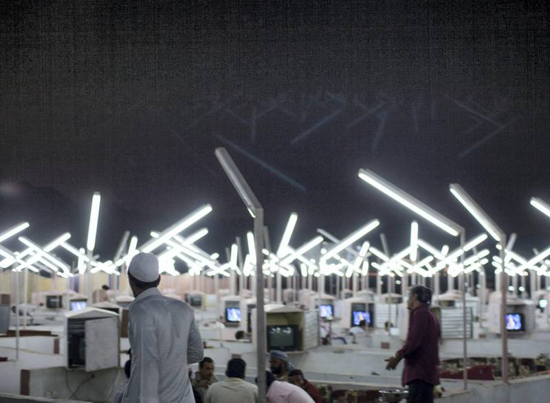 Ahmed Mater (Saudi, born 1979). Neon Café, 2012. C-print, 60 x 90 in. (152.4 x 228.7 cm). Courtesy of the artist. © Ahmed Mater