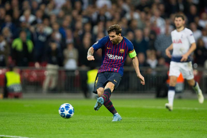LONDON, ENGLAND - OCTOBER 03:  Lionel Messi of FC Barcelona scores his side's fourth goal during the Group B match of the UEFA Champions League between Tottenham Hotspur and FC Barcelona at Wembley Stadium on October 3, 2018 in London, United Kingdom. (Photo by Craig Mercer/MB Media/Getty Images)