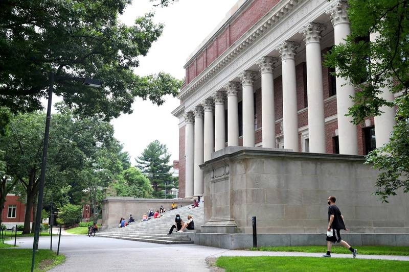 CAMBRIDGE, MASSACHUSETTS - JULY 08: A view of Harvard Yard on the campus of Harvard University on July 08, 2020 in Cambridge, Massachusetts. Harvard and Massachusetts Institute of Technology have sued the Trump administration for its decision to strip international college students of their visas if all of their courses are held online.   Maddie Meyer/Getty Images/AFP (Photo by Maddie Meyer / GETTY IMAGES NORTH AMERICA / Getty Images via AFP)