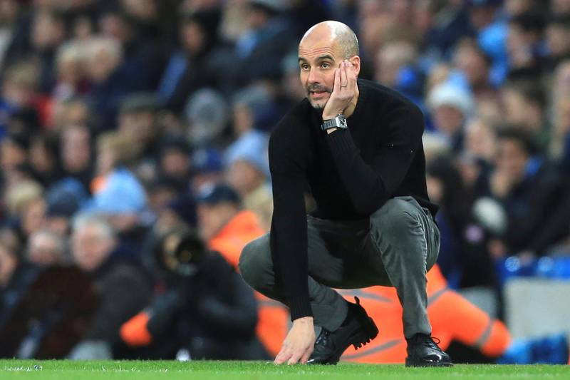 Manchester City's Spanish manager Pep Guardiola gestures from the touchline during the English Premier League football match between Manchester City and Sheffield United at the Etihad Stadium in Manchester, north west England, on December 29, 2019. (Photo by Lindsey Parnaby / AFP) / RESTRICTED TO EDITORIAL USE. No use with unauthorized audio, video, data, fixture lists, club/league logos or 'live' services. Online in-match use limited to 120 images. An additional 40 images may be used in extra time. No video emulation. Social media in-match use limited to 120 images. An additional 40 images may be used in extra time. No use in betting publications, games or single club/league/player publications. /