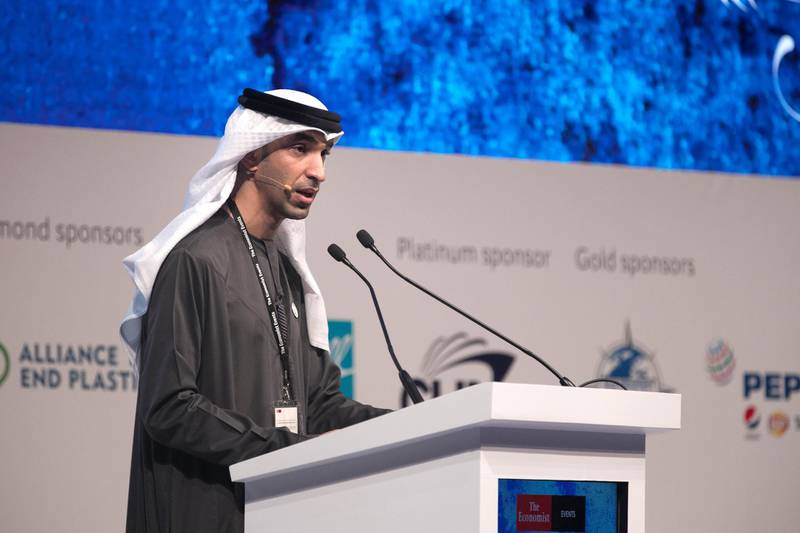 ABU DHABI, UNITED ARAB EMIRATES - March 5 2019.Thani Al-Zeyoudi, Minister of climate change and environment, United Arab Emirates, speaking at the World Ocean Summit 2019, held in St Regis Abu Dhabi.(Photo by Reem Mohammed/The National)Reporter: John DennehySection:  NA