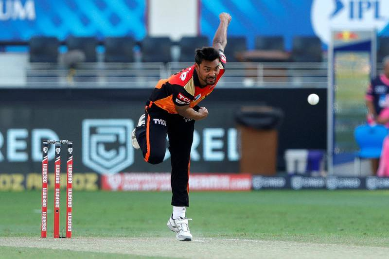 Sandeep Sharma of Sunrisers Hyderabad bowling during match 26 of season 13 of the Dream 11 Indian Premier League (IPL) between the Sunrisers Hyderabad and the Rajasthan Royals held at the Dubai International Cricket Stadium, Dubai in the United Arab Emirates on the 11th October 2020.  Photo by: Saikat Das  / Sportzpics for BCCI