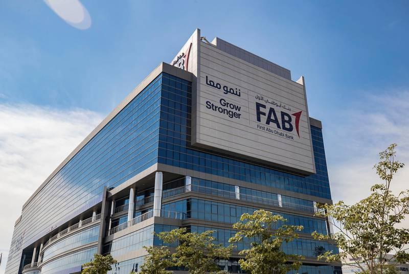 Abu Dhabi, United Arab Emirates - February 7th, 2018: FAB (First Abu Dhabi Bank) Head office - Business Park. Wednesday, February 7th, 2018. Twofour54, Abu Dhabi. Chris Whiteoak / The National