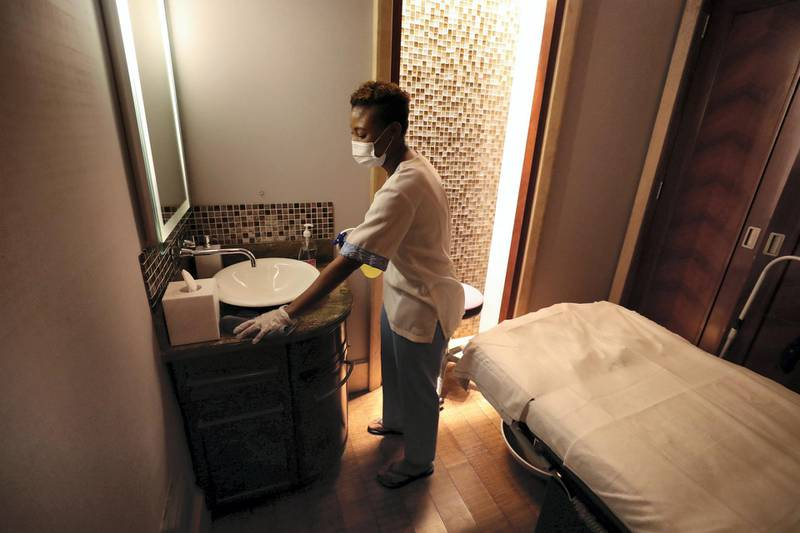 Dubai, United Arab Emirates - Reporter: Ashleigh Stewart. Lifestyle. ShuiQi Spa & Fitness at the Atlantis hotel. Spas and massage salons in Dubai have received the green light to resume services. Tuesday, July 7th, 2020. Dubai. Chris Whiteoak / The National