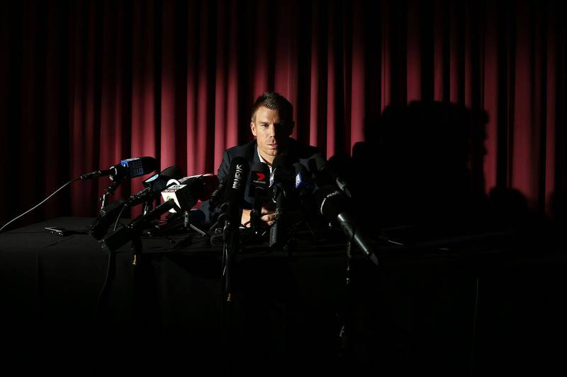 SYDNEY, AUSTRALIA - MARCH 31:  Australian cricketer David Warner speaks to the media during a press conference at Cricket NSW Offices on March 31, 2018 in Sydney, Australia. Warner was banned from cricket for one year by Cricket Australia following the ball tampering incident in South Africa.  (Photo by Brendon Thorne/Getty Images)