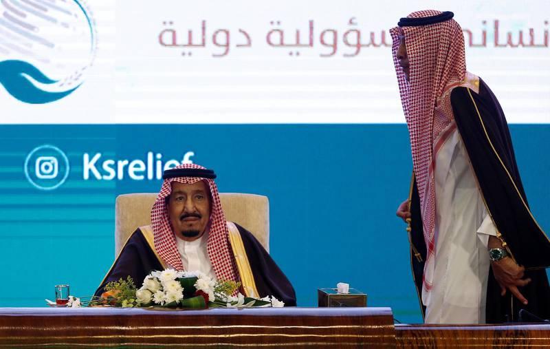 Saudi Arabia's King Salman bin Abdulaziz Al Saud attends Riyadh International Humanitarian Forum in Riyadh, Saudi Arabia February 26, 2018. REUTERS/Faisal Al Nasser