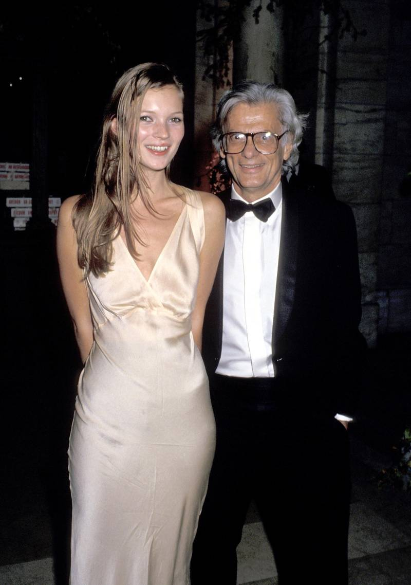 Kate Moss and Richard Avedon during Dinner Party Honoring Richard Avedon Hosted by Random House and The New Yorker - September 27, 1993 in New York City, New York, United States. (Photo by Ron Galella/Ron Galella Collection via Getty Images)