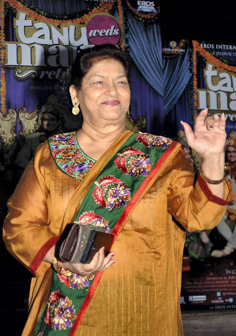Indian Bollywood choreographer Saroj Khan poses for a photograph during a promotional event for the Hindi film 'Tanu Weds Manu Returns' in Mumbai on late June 9, 2015. AFP PHOTO / STR (Photo by STRDEL / AFP)