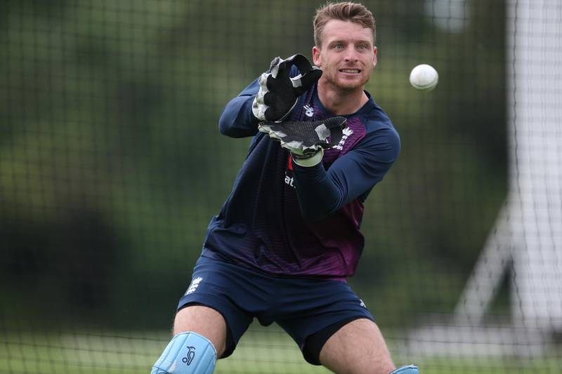 RICKMANSWORTH, ENGLAND - JUNE 23: Jos Buttler of England takes a catch during an England Nets session at Merchant Taylor's School on June 23, 2019 in Rickmansworth, England.  (Photo by Steve Bardens/Getty Images)