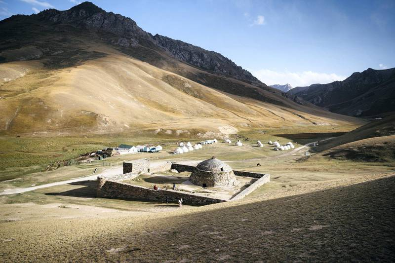 The remains of a remote 15th century caravanserai on the old Silk Road in Kyrgyzstan. Travellers and traders would rest here on route to cities and markets. Photo: Christopher Wilton-Steer and The Aga Khan Development Network