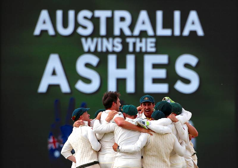 Cricket - Ashes test match - Australia v England - WACA Ground, Perth, Australia, December 18, 2017. Australian players celebrate after winning the third Ashes cricket test match.    REUTERS/David Gray     TPX IMAGES OF THE DAY