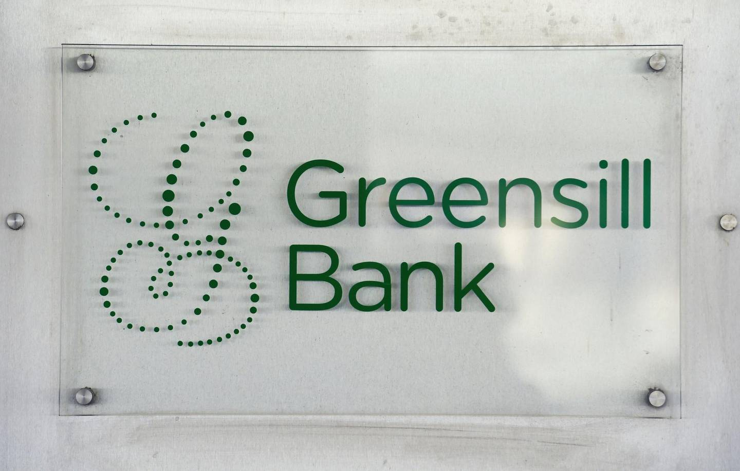 FILE PHOTO: The logo of Greensill Bank is pictured in downtown Bremen, Germany, July 3, 2019. REUTERS/Fabian Bimmer/File Photo