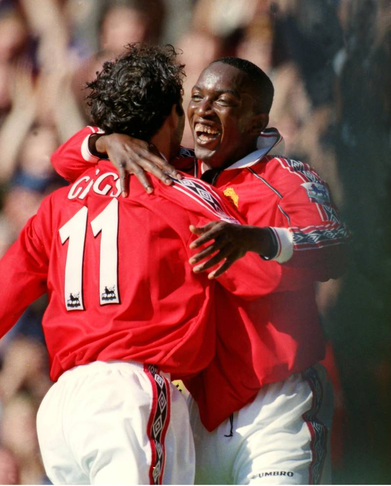 Mandatory Credit: Photo by Colorsport/Shutterstock (3146929a)Football Ryan Giggs celebrates their goal with Dwight Yorke Carling Premiership Manchester United v Coventry City 12/09/1998 Man Utd 2 Coventry 0Sport