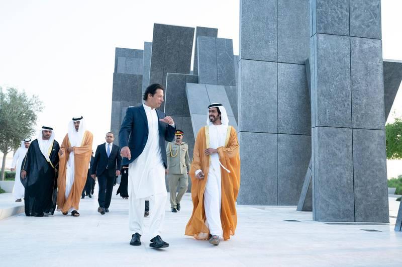 Prime Minister of Pakistan Imran Khan visited Wahat Al Karama with Sheikh Khalifa bin Tahnoun Al Nahyan, Executive Director of the Martyrs' Families' Affairs Office. He was accompanied by Dr. Sultan bin Ahmad Sultan Al Jaber, Minister of State, and Hamad Obaid Al Zaabi, Ambassador of UAE in Pakistan. Wam