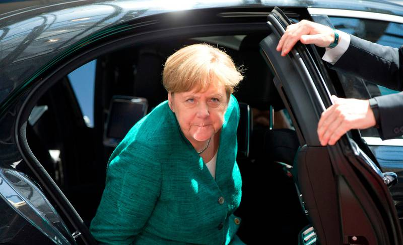 German Chancellor Angela Merkel arrives for an EU summit at the Europa building in Brussels on June 28, 2018.  European Union leaders meet for a two-day summit to address the political crisis over migration and discuss how to proceed on the Brexit negotiations. / AFP / POOL / Virginia Mayo