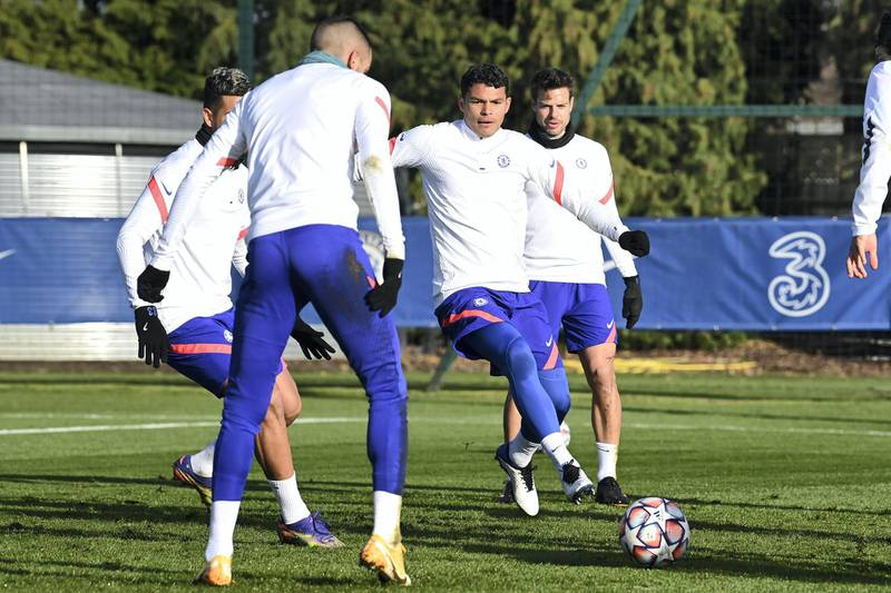 COBHAM, ENGLAND - DECEMBER 01:  Thiago Silva of Chelsea during a training session at Chelsea Training Ground on December 1, 2020 in Cobham, United Kingdom. (Photo by Darren Walsh/Chelsea FC via Getty Images)