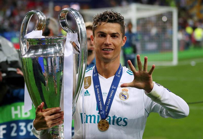 Soccer Football - Champions League Final - Real Madrid v Liverpool - NSC Olympic Stadium, Kiev, Ukraine - May 26, 2018   Real Madrid's Cristiano Ronaldo gestures as he celebrates winning the Champions League with the trophy   REUTERS/Hannah McKay     TPX IMAGES OF THE DAY