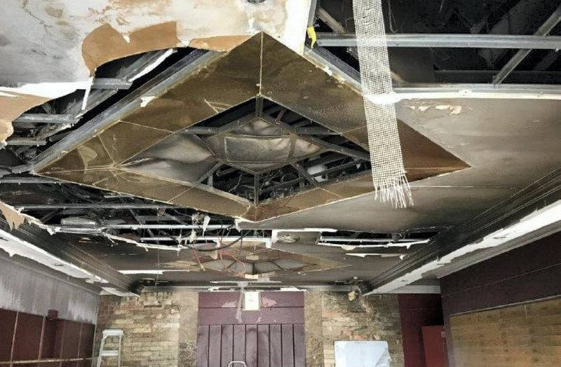 Main entrance lobby gorund floor at Zen Tower fire. courtesy: Rose City Contracting Company