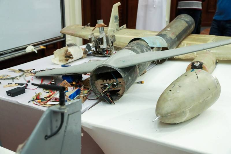 Abu Dhabi, U.A.E., June 19, 2018. Allegedly used Iranian weapons that have been used in Yemen.  A shot down drone on display.Victor Besa / The NationalSection:  NARequested by:   Jake Badger