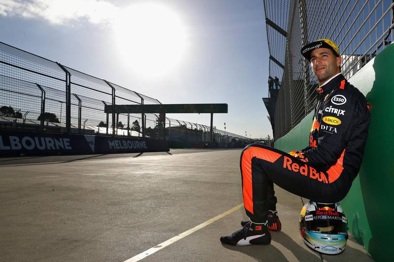 MELBOURNE, AUSTRALIA - MARCH 21:  Daniel Ricciardo of Australia and Red Bull Racing looks on at the circuit during previews ahead of the Australian Formula One Grand Prix at Albert Park on March 21, 2018 in Melbourne, Australia.  (Photo by Mark Thompson/Getty Images)