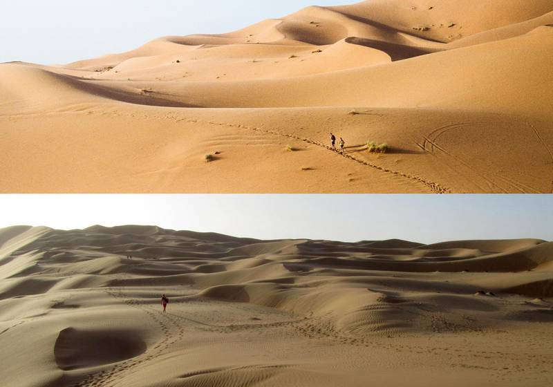 TOP: Sahara desert at sunset. Getty ImagesBELOW:A picture taken on March 16, 2012 shows a foreigner tourist walking outside Qasr al-Sarab Hotel (Mirage Hotel) located on the edge of Rub' al-Khali (empty quarter) desert south of Abu Dhabi. AFP PHOTO/WISSAM KEYROUZ / AFP PHOTO / Wissam Keyrouz