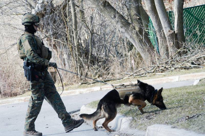 Police search neighborhoods near Central Michigan University for a 19-year-old student suspected of killing his parents at a dormitory and then running from campus, Friday, March 2, 2018 in Mount Pleasant, Mich. (Jacob Hamilton/The Bay City Times via AP)