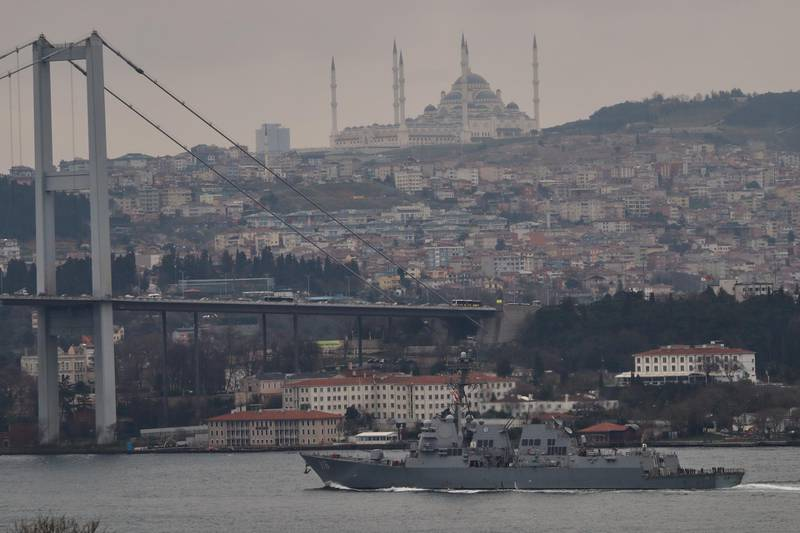 U.S. Navy guided-missile destroyer USS Thomas Hudner (DDG-116) sails in the Bosphorus, on its way to the Black Sea, in Istanbul, Turkey March 20, 2021. REUTERS/Murad Sezer
